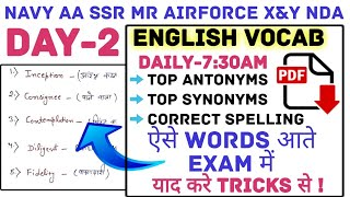 Day-2 English Vocab Tonic    Top-600+ Questions    Last Year Synonyms & Antonyms & Spelling