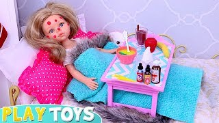 Baby Doll Skipping School for Sick Day in the Dollhouse with Mommy!