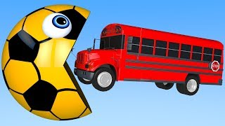 Learn Colors with PACMAN and School Bus Street Vehicle 3D Soccer Ball for Kid Children
