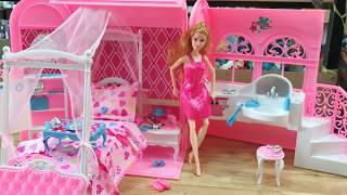 Pink toy house of barbie dolls from beautiful suitcase with Pink Bedroom, Doll Bathroom