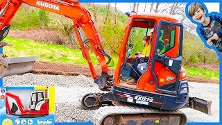 Excavators Videos For Children - Real Excavator and Bruder Toy Excavator