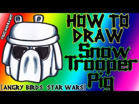 How To Draw Snowtrooper Pig from Angry Birds Star Wars ✎ YouCanDrawIt ツ 1080p HD