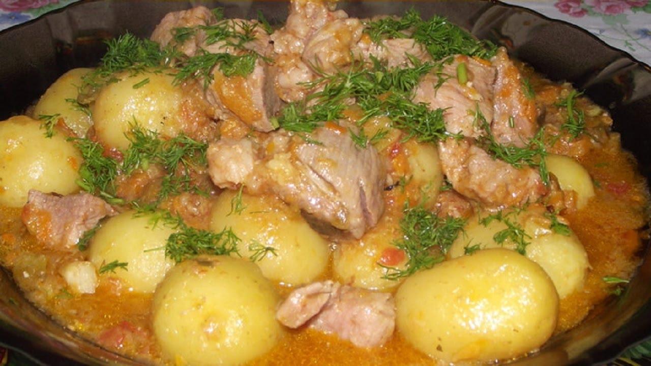 картошка с мясом в духовке пошагово