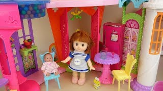 Baby doll big house and refrigerator food cooking toys play