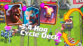 Clash Royale - *BEST* 3.4 Elixir Hog Rider & Ice Wizard Cycle Tournament Deck?! 2017 Update Arena 10
