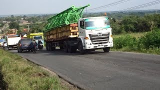 Heavy Load Trucks On High Inclines - Hino Trailer Truck On The Road Uphill