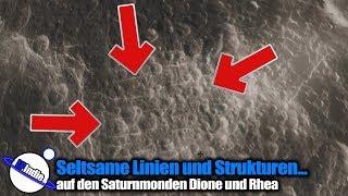 Seltsame Linien und Strukturen auf den Saturnmonden Dione und Rhea