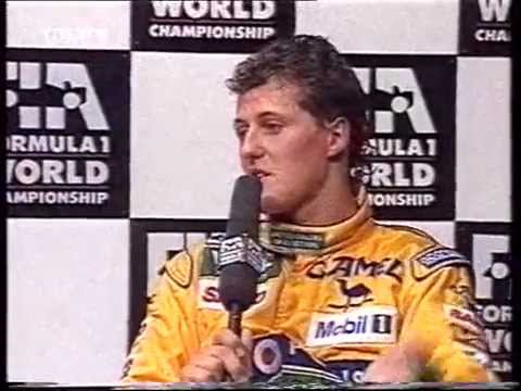 Schumacher being upset with Senna, criticizing the Brazilian ace in the post race interview (Brazil 1992)..