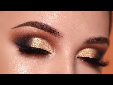 Glam Gold Smokey Eye Makeup Tutorial   Morphe 35O2 Palette