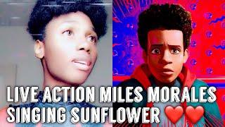 "LIVE ACTION MILES MORALES SINGING ""SUNFLOWER"" (FAN VERSION) #milesmorales #spiderman"