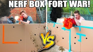 WORLDS BIGGEST BOX FORT NERF WAR! 1v1 NERF BATTLE!