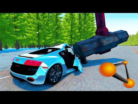 Acidentes FATAIS com AUDI R8 na NEVE - BeamNG Drive - Car Crash MOD