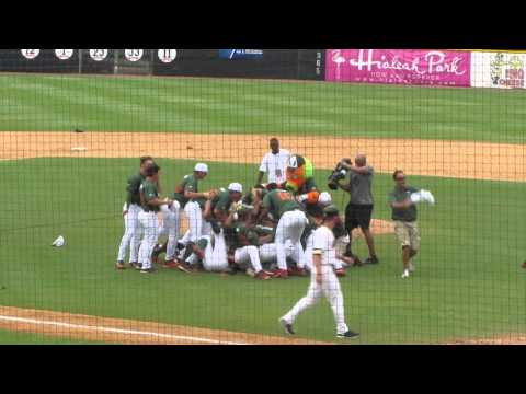 The FINAL OUT!!  UM Miami Hurricanes Canes Baseball 2015 CWS Super Regional Victory