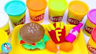 ปั้นแป้งโดว์ แฮมเบอร์เกอร์ ไก่ทอด เฟรนช์ฟรายส์ เรียนรู้สี วีดีโอสำหรับเด็ก Play Doh