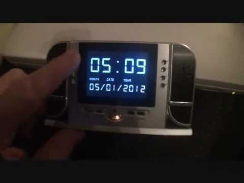 DEMO, Nightvision Infrared hidden Spy cam clock 1280x720 HD  Video Wireless portable W/ remote