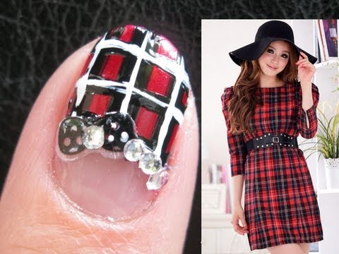 scottish plaid nails - Back to School Nail Art Design Tutorial freehand Bow French Manicure