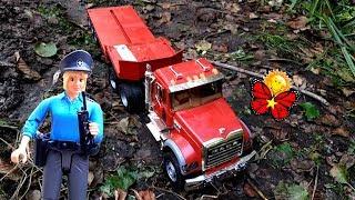 Máy móc xây dựng / Đồ chơi BRUDER. Cuộc phiêu lưu trong rừng. Xe cẩu, xe ủi và xe cảnh sát 🌈