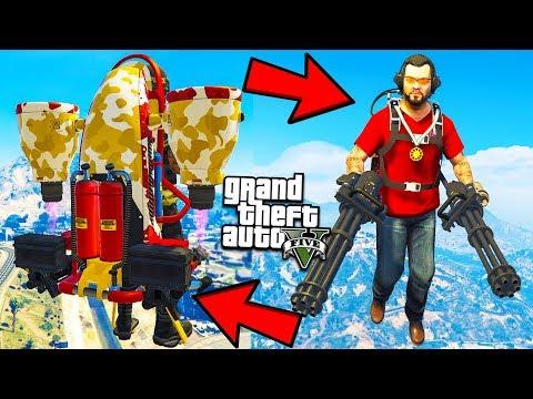 КАК ДЕРЖАТЬ МИНИГАН НА ДЖЕТПАКЕ ГТА 5 МОДЫ! ОБЗОР МОДА В GTA 5 веселая видео игра мультик для детей