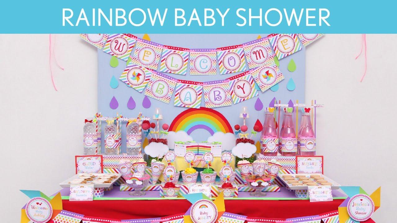 Rainbow Baby Shower Party Ideas // Rainbow - S14 - YouTube