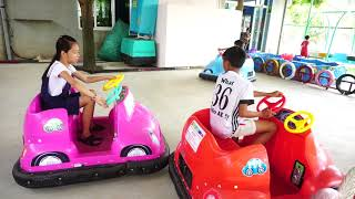 Kids Go To drive a car Play Games Indoor playground | Kids Ten In The Bed Song Children.