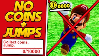 Super Mario Odyssey beaten without Coins and without Jumps!