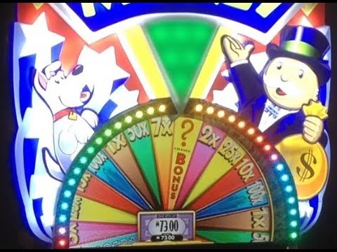 Super Monopoly Money Slot Machine Bonus and HUGE Wheel Spin Cool Nights version ~ WMS