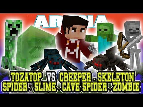 Creepers vs spiders vs skeletons vs zombies vs slimes - Minecraft zombie vs creeper ...