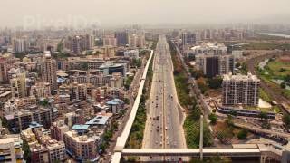 Mumbai Pune Highway Aerial Stock Footage