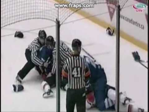 Toronto Marlies at Abbotsford Heat 10/21/09 Line Brawl Video