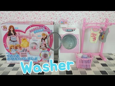 Frozen Elsa Barbie Doll Washer;Battery Operated Toy Washing Machine, Mesin Boneka Barbie Cuci