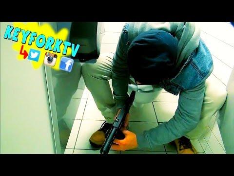 Machine Gun In Bathroom Prank - Public Pranks - Pranks Gone Wrong