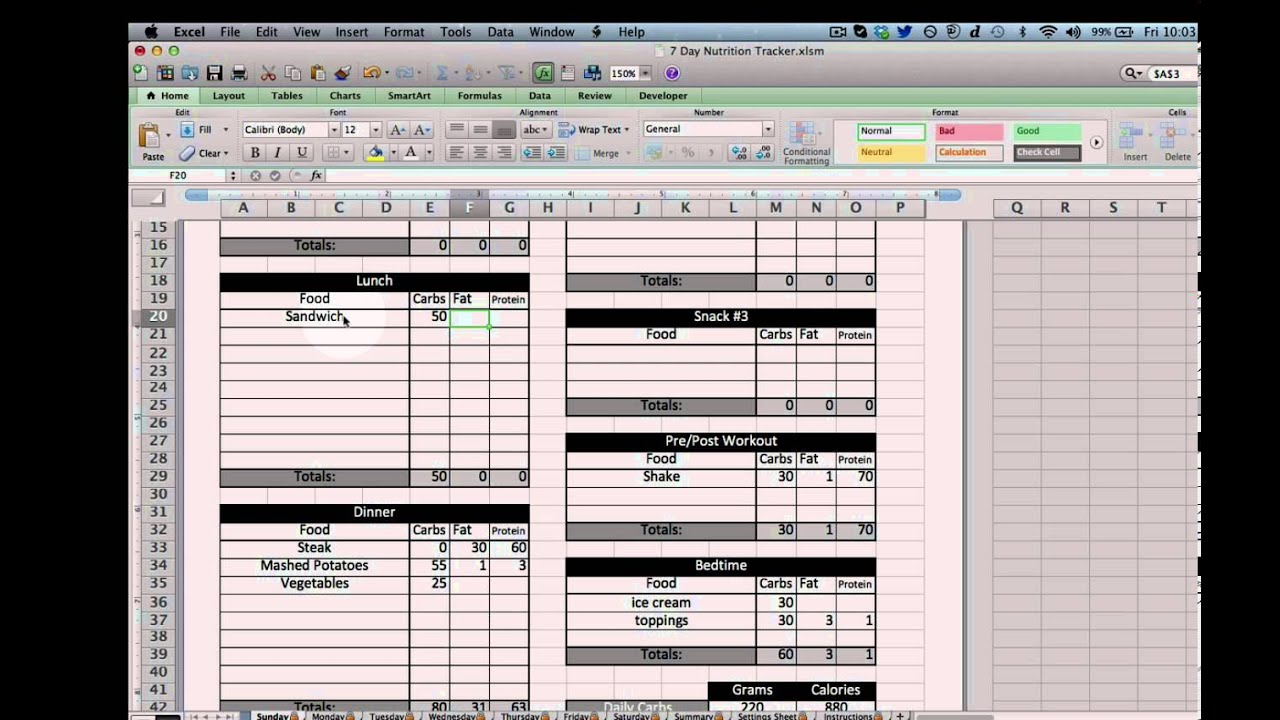 Nutrition Planner Excel Excel Nutrition Tracking