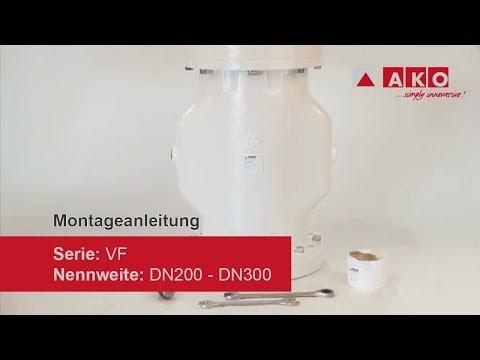 Wechsel Schlauchmanschette: AKO Quetschventil (pneumatisch), Serie VF, DN200, DN250, DN300