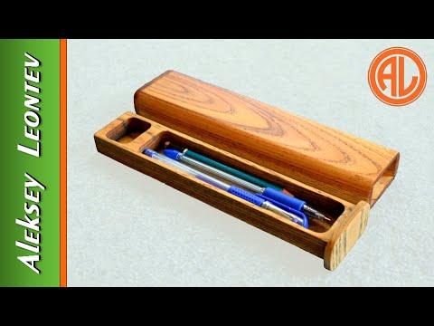 Пенал из дерева для письменных принадлежностей своими руками. Деревянный пенал. / Wooden pencil box