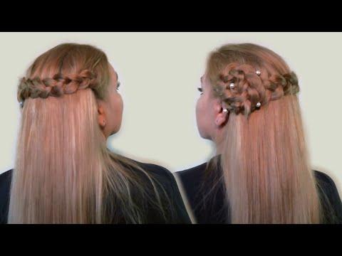 Прическа своими руками на распущенные волосы