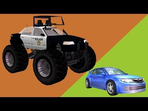 Monster Trucks Police Cars Chasing Cars | Helicopter Cartoons for Children Monster Trucks