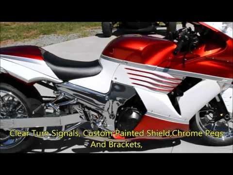 2010 Kawasaki Ninga ZX 14 With A 300 Chrome Wide Fat Tire Kit