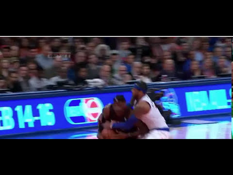 Carmelo Anthony tackles LeBron James
