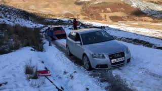AUDI A3 Quattro on SNOW Tyres pulls S1 quattro out