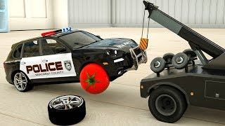 Learn Colors Monster Machine Lost Tire. Assembly Ultimate Police Car for Kids Children