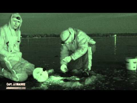 Little Bay De Noc Night Vision Walleye Ice Fishing 2013