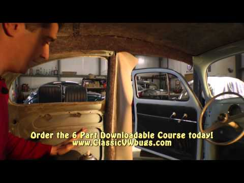 Classic VW Bugs How to Install Multi Piece Headliner Sample 1 Beetle Course