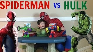 SPIDERMAN AND HULK SMASH TOYS SPIDERMAN FIGHT AND SPOIDERMAN TOYS