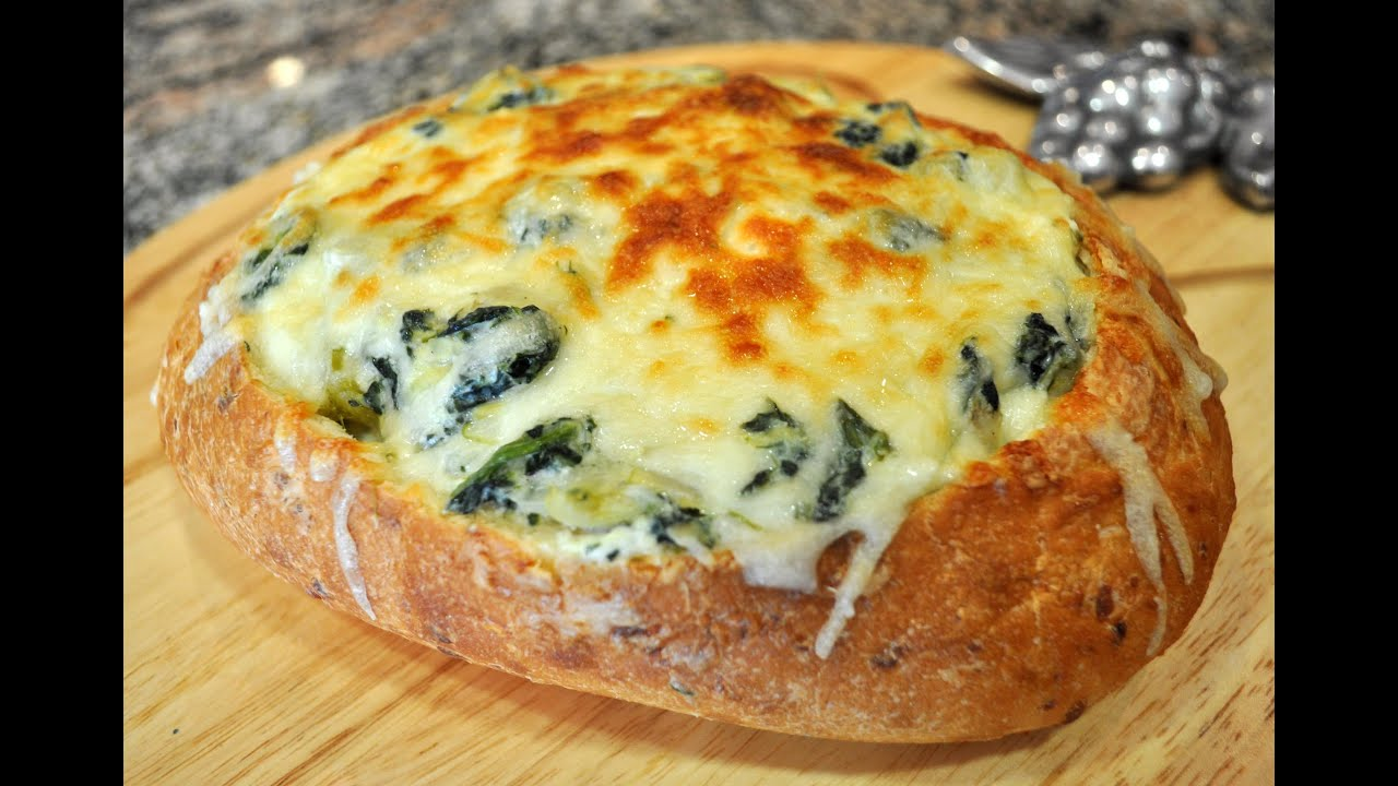 Spinach Artichoke Dip in Bread Bowl Spinach Artichoke Dip Recipe