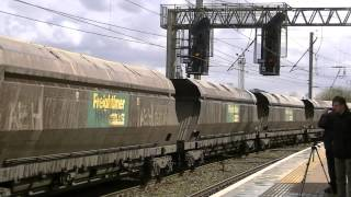 Warrington Bank Quay & Arpley Junction - Freight Action including classes 47 60 and 66 on 18-04-13