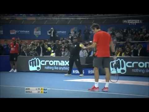 Roger Federer HOT SHOTS vs Novak Djokovic iptl in New Delhi (HD)