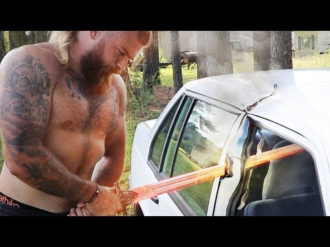 Can A Glowing 1000 Degree Sword Slice A Car In Half?