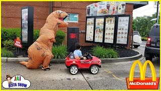 McDonalds Drive Thru Dinosaur Orders Kids Happy Meal | kid drive to mcdonalds