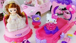 Hello Kitty car and Fashion stage Dress shop toys Baby doll play 헬로키티 패션 스테이지 드레스 가게 뽀로로 장난감 - 토이몽