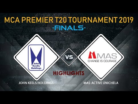 JOHN KEELS VS MAS UNICHELA  HIGHLIGHTS (26th SINGER - MCA Premier League T20 Tournament 2019)